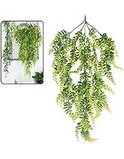 bennyue フェイクグリーン 1本入り 人工観葉植物 吊り下げ式 藤 緑 壁掛け 葉 造花 インテリア デコレーション 植物装飾