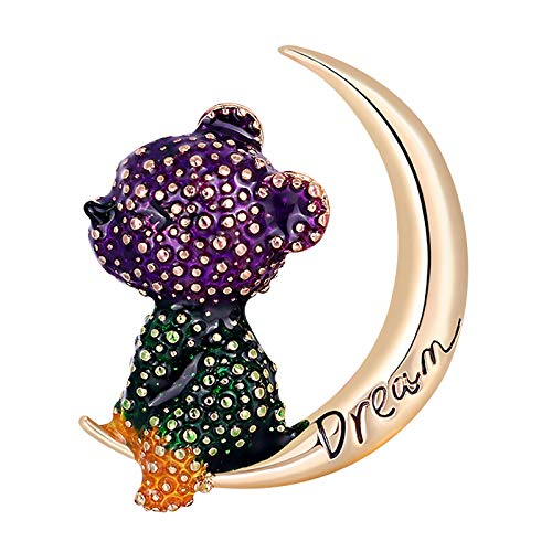 happysdh The Moon bear brooch Reveals Your Individual Character for Women Fresh Elegant Brooch Pin Vintage Coat Brooch Buttons Flatback Embellishments for Crafts Jewelry Making, Clothes, Bags (B)