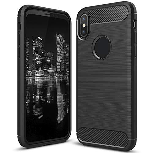 Kohlerfaser Optik Hülle für iPhone XR | Soft Bumper | Matte Farbe in Schwarz