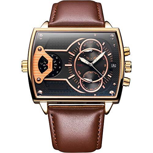Armbanduhr,Quadratische Quarzuhrbewegungskonzept-Gezeitenuhr, Kaffeetasse Mit Goldoberteilschwarzoberfläche