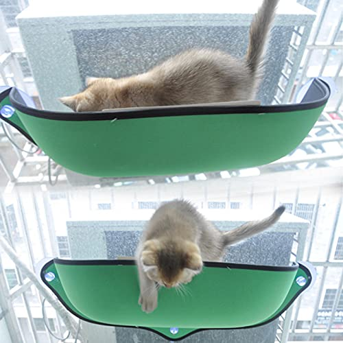 GSDGV Hamaca para ventana de gato, asientos para ventanas de gato, accesorios para gatos, ventana de gato, cama soleada, duradera, diseño de ahorro de espacio con grandes ventosas (verde)