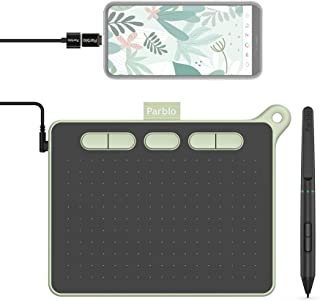Parblo Ninos S 6*4インチ ペンタブ 携帯Android6.0以降/Windows/Mac/タブレットに対応8192レベル筆圧 バッテリー充電不要 5個エクスプレスキー オンライン授業、会議 イラスト練習 OSUゲーム用(緑 S)