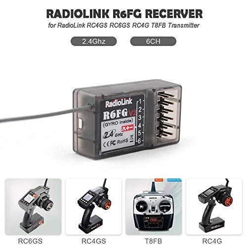 Goolsky Radiolink R6FG 6CH 2.4GHz Receptor com Giroscópio Integrado e Servo HV Suportado para RC4GS RC6GS RC4G RC4G T8FB Transmissor