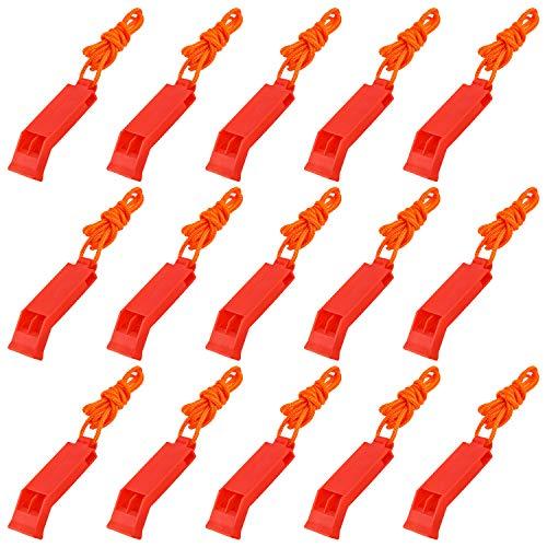 LUTER 15 Piezas silbatos de Seguridad de Emergencia al Aire Libre con Cordones, silbatos Rojos de Supervivencia para Acampar, pasear en Bote, Caminar