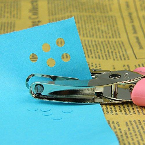 Lochzange Locher Metall Papier Punch Loch für Grußkarten Scrapbook Notebook Reifenplatzer Hand Werkzeug mit Pink Grip (3mm Loch)