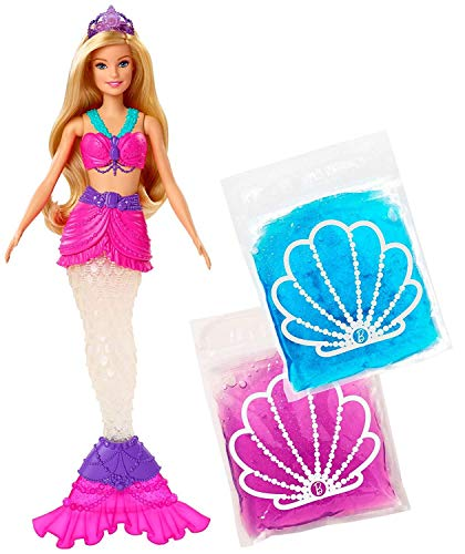 Barbie Dreamtopia Slime Mermaid Doll with 2 Slime Packets, Removable Tail and Tiara, Makes a Great Gift for 3 to 7 Year Olds, multi color (GKT75)