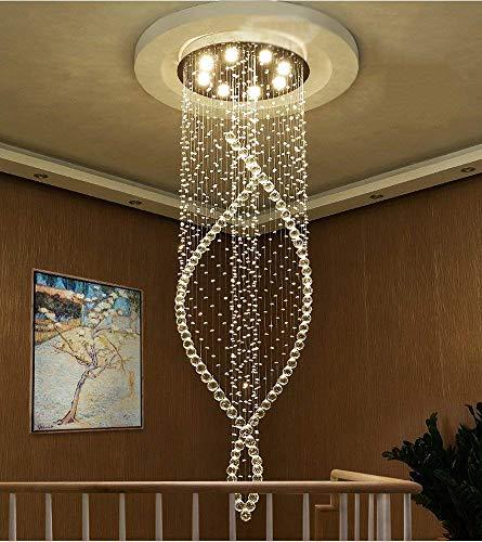 Hanglamp van kristalglas voor de woonkamer, hanglamp, creatieve draaistoel, met dubbele ladder (afmetingen: B: 45 x 120 cm)