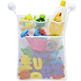 FOLEY Kids Toys Organizer- Dry and Storage -XL Large Mesh Bag for Toys and Bath appliances Storage to Dry, Four Bonus Strong Hooked Suction Cups, White