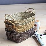 Cestas de lavandería hechas a mano para macetero, de ratán, para plantas, organizador de frutas (color amarillo, tamaño: arena media)