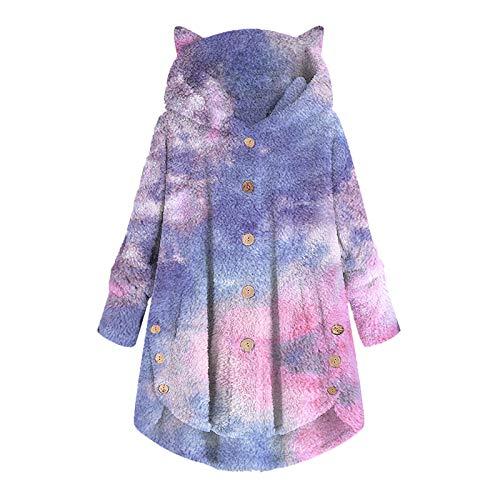 Xmiral Hoodie für Damen Plüsch Loose Button Tops Farbverlauf Krawatte Bedruckter Kapuzenpullover Mantel mit Tasche(c-Blau,XXL)