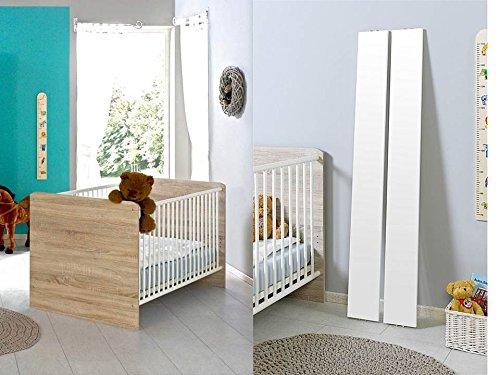 Babybett Kinderbett Juniorbett Komplettset ELISA in Eiche Sonoma/weiß mit höhenverstellbarem Lattenrost und Umbauseiten, komplett Set