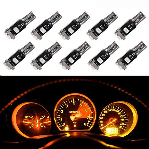 WLJH T5 LED Intérieur Ampoules 5-3020 LED Lumière Tableau de bord Jauge Cluster Dash Indicateur Lampes 74 2721 73 74 17 (10pcs, Jaune)