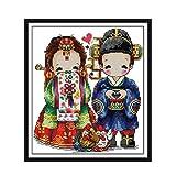 Joyautum Korean Wedding Cartoon 14ct Counted Cross Stitch kit 11ct Printed Fabric Embroidery DIY Needlework Children Gift (14ct Blank Fabric)
