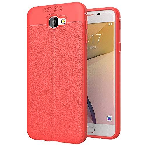 ZAORUN Cubiertas Protectoras de Cellphone Compatible for Samsung Galaxy J5 Prime Litchi Textura TPU Funda Protectora de la contraportada (Color : Red)