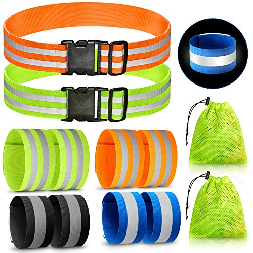 10 Pieces Reflective Bands Reflector Bands for Wrist, Arm, Ankle, Leg, Waist, High Visibility Reflective Gear Safety Reflector Tape Straps for Night Walking, Cycling and Running, With 2 bags