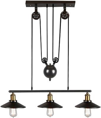 Ting-w Industrial Metal Antique Copper Edison LED Antique Metral 3-light Pendant Hanging Light Black