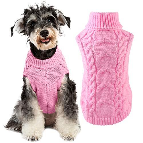 Qiraoxy Maglione Lavorato a Maglia per Cani da Compagnia Vestiti per Cuccioli Inverno Morbido Caldo Maglione a Collo Alto