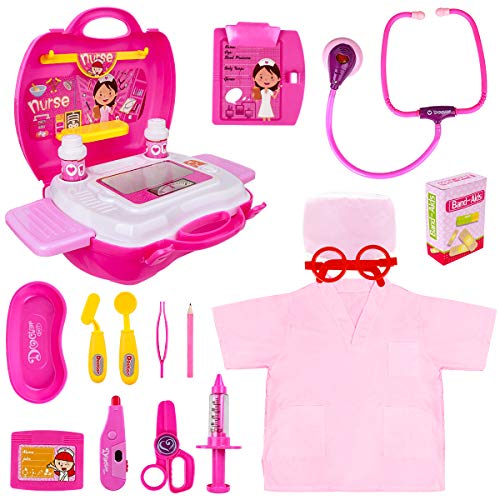 Doctor Sets for Kids - Surgeon Role Play Doctors Kit for Children, Toy-Doctors-Set for Girls with Medical Carry Case, Light and Sound Stethoscope, Pink Doctor Costume