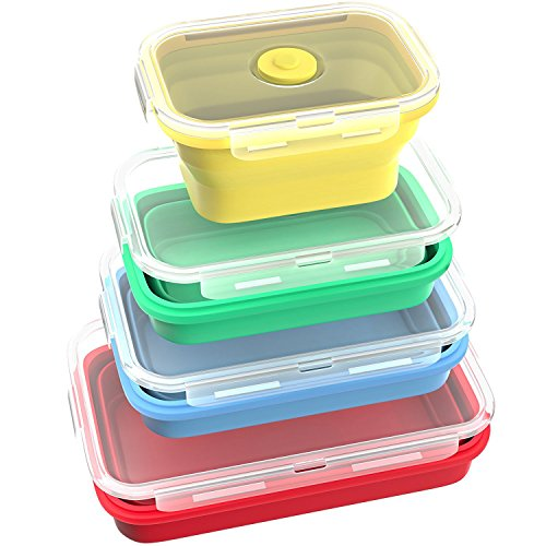 Fyuan Silicone Food Storage Containers - Small and Large Collapsible Bento Boxes - Microwave Freezer and Dishwasher Safe, Set of 4