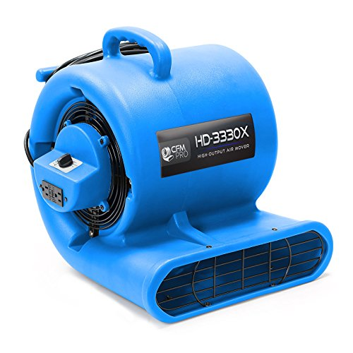 CFM PRO Air Mover Carpet Floor Dryer 3 Speed 1/3 HP Blower Fan with 2 GFCI Outlets - Stackable - Grey - Industrial Water Flood Damage Restoration