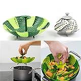 Faltbarer nicht kratzender Gemüse-Dampfkorb, Küchenkochwerkzeug, grün