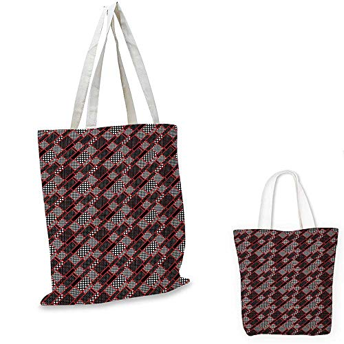 "Red and Black thin shopping bag Geometric Rectangle Frames Retro Patterns Polka Dots and Houndstooth canvas tote bagBlack White Scarlet. 15""x15""-11"""