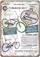 コロンビア自転車カラーホイールバナナシートレトロな外観のメタルサイン