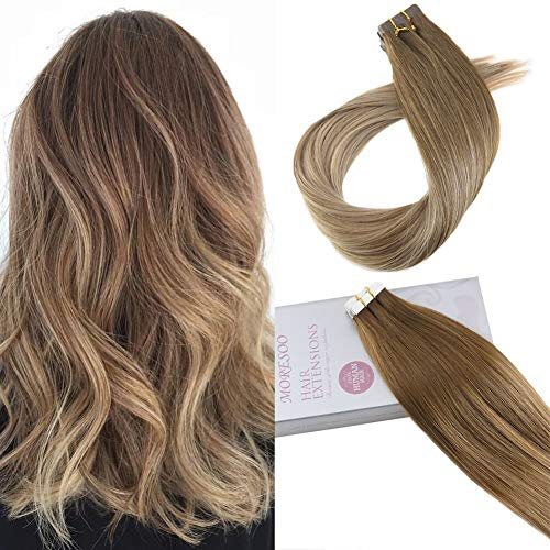 Moresoo 18 Pulgadas Balayage Human Remi Hair Extensions Glue on Hair 20PCS Hair Extensions Tape in Real Human Hair 50G Invisible Tape in Remy Human Hair Balayage Brown #6 Ombre to #14 Brown 50 Grams