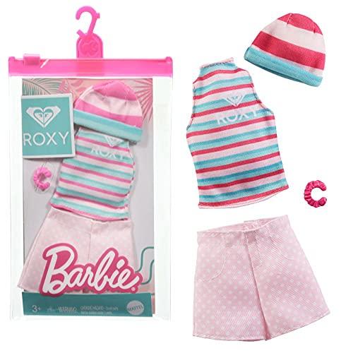 Barbie Roxy GRD44 - Conjunto de ropa (pantalones cortos, camiseta y gorro)