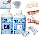 320 gr Resina epoxi transparente + set de utensilios- guantes, bastones de mezcla,...