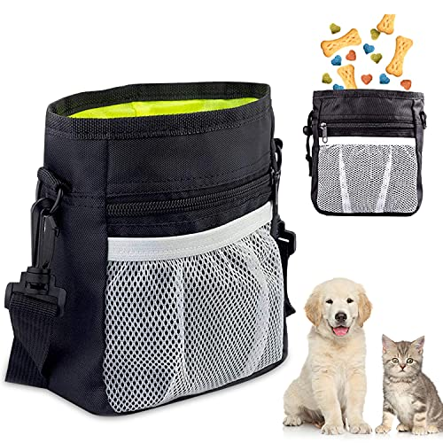 Futterbeutel für Hunde, Premium Hundefutter Taschen, Praktischer Leckerlibeutel mit Integriertem Hundkotbeutel Spender Verstellbarer Taillen/Schulterriemen für Hundetraining und Spaziergänge (Schwarz)