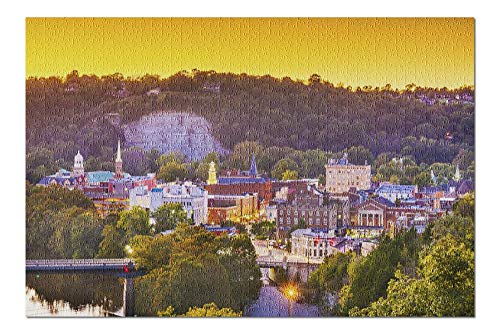 PmseK Jigsaw Puzzles Frankfort, Kentucky - Town Skyline on the River at Dusk A-9011179 1000 Piece Jigsaw Puzzle