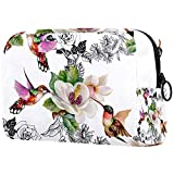 Vogelblumen, Kosmetiktasche für Frauen, entzückende geräumige Schminktaschen Travel Toiletry Bag Zubehör Organizer