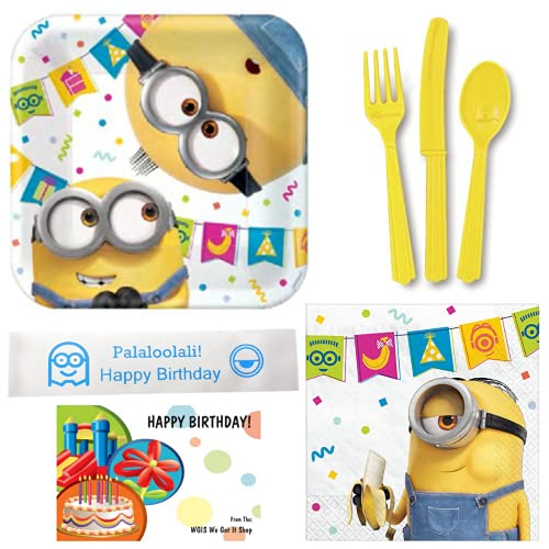 Despicable Me Minion Birthday Party Supplies Bundle Including Plates, Napkins, Utensils and Bonus Printed Ribbon