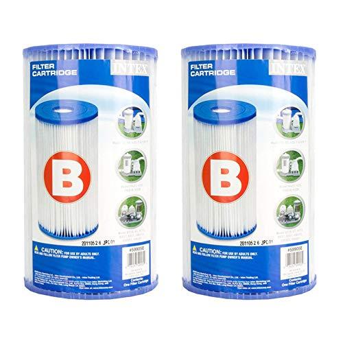 Intex 29005E Swimming Pool Type B Replacement Easy Clean Dacron Material Filter Pump Cartridge (2 Pack)