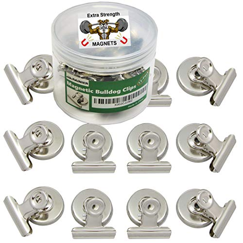 Strong Magnetic Clips –Heavy Duty Metal Refrigerator Fridge Bulldog Magnet Clips Home Office Classroom Teachers Whiteboard Hanging Photos Calendar Chalkboard Scratch Safe 12Pack Large 31mm Wide