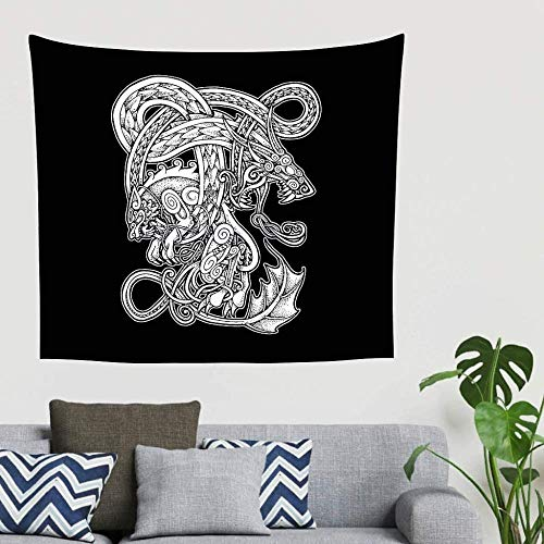 Yhjdcc Bohemian Viking Wolf Dragon Celtic Knot Wall Hanging Tapestry Mystical Tapestry Wall Decor Bedspread 150cm x 200 cm