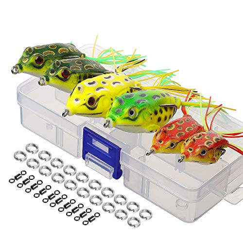 DONQL Topwater Froschköder, künstlicher Frosch-Angelköder-Set mit Angelbox für Barsch, Dogfish, Moschus, Schlangenkopf, Hecht, Forelle (mehrfarbig) (6 Froschköder mit zwei Röcken)