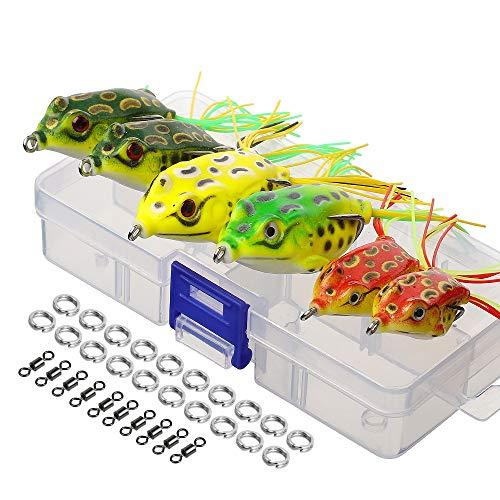 DONQL Topwater Froschköder, künstliches Frosch-Angelköder-Set mit Angelbox für Barsch, Hund, Moschus, Schlangenkopf, Hecht, Forelle (mehrfarbig), 6 Froschköder mit Zwillingsröcken