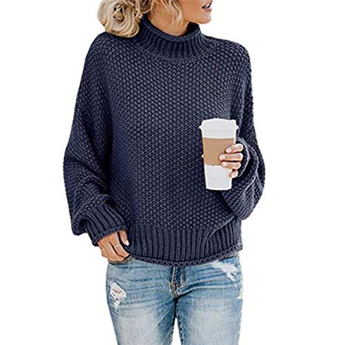 SLYZ Otoño E Invierno Nuevo Suéter De Punto para Mujer, Jersey De Cuello Alto A Juego, Suéter Suelto, Blusa