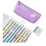 SmileStar - 10 bolígrafos de colores y estuche y unicornio, para lápices de unicornio, para amantes de los flamencos y los unicornios, un excelente regalo para una niña (púrpura)