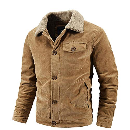 Winterjacke Herren Fleece Verdicken Warm Casual Mäntel Groß Slim Windbreaker Herren Jacken Gr. XL, khaki