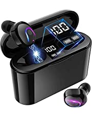True Wireless Earbuds, in-Ear Button Control Hi-Fi Stereo Sound IPX5 Waterproof, Built-in Mic Earphones Work Sport Gym Travel Running Easy Pair Connection Black