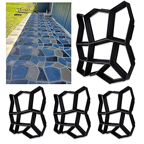 Viilich 4X Gehweg Form Pflasterstein DIY Pflasterform Schalungsform Betonformen Garten Schablone Gehwegplatten Beton Kunststoff für Garten Natursteinpflaster 9 Kammer 43x43x4cm