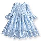 TTYAOVO Vestido de Fiesta de Princesa de Manga Larga de Encaje para Niñas Talla(100) 2-3 Años 10 Azul