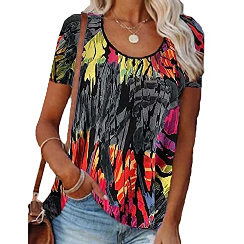 RWXXDSN Vrouwen losse contrasterende kleur Casual afgedrukt ronde hals korte mouw T-Shirt Top - grijs - 5XL