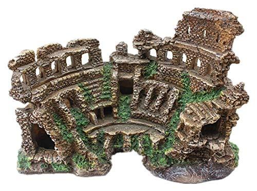 Desktop-Skulptur Roman Tempel Ruinen, Römische Säule Aquarium Dekoration Römische Architektur Modell Handwerkskulptur Statue Harz Kunstverzierungen