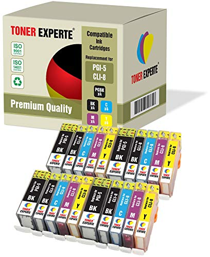 20 XL TONER EXPERTE® PGI-5 CLI-8 Druckerpatronen kompatibel für Canon Pixma iP4200, iP4300, iP4500, iP5200, iP5200R, iP5300, MP500, MP600, MP600R, MP610, MP800, MP800R, MP810, MP830, MX850