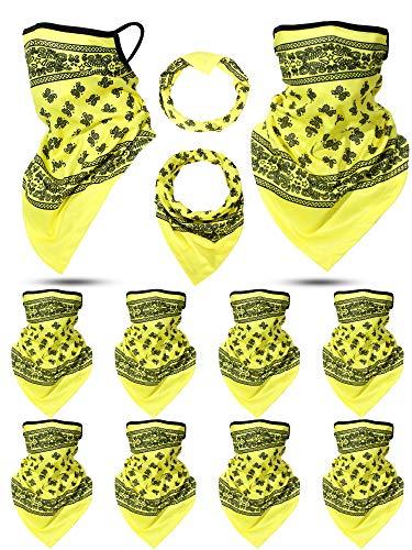 8 Stück Paisley Ohrbügel Kopfbedeckung Winddichte Hals Gamaschen Bandanas Unisex Ohrschlaufe Dreieck Gesicht Sturmhauben Schal für Motorradfahren Outdoor Sport (Gelb)