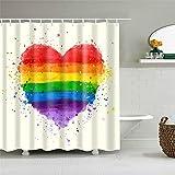 PeakLimits Duschvorhang 120 X 180 cm Antischimmel Wasserdicht Shower Curtain Polyester Duschvorhang Textil Musterliebe Regenbogen Bunt Mit 12 Duschvorhang Ringe